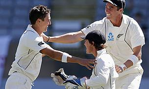 Tim Southee (right) and Trent Boult (left) enjoy bowling against the West Indies...