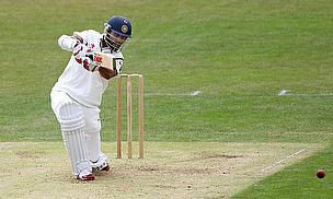 Shikhar Dhawan drives against Leicestershire