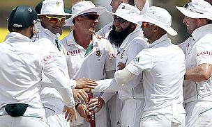 South Africa celebrate their 153-run win over Sri Lanka in Galle