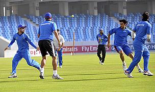 Afghanistan players warm up