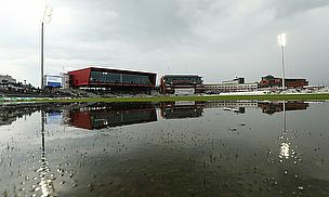 A very wet Old Trafford on day two