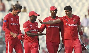 Prosper Utseya (second left) has been reported for bowling with a suspected illegal action