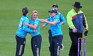 England players celebrate their win over India