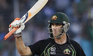Glenn Maxwell raises his bat