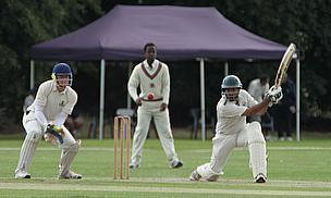 Shiraz Ali plays an off-side shot during his knock of 89