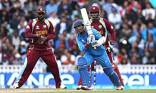 Action from India playing the West Indies