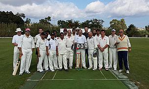 Mike Caruana pictured after taking his 1000th wicket