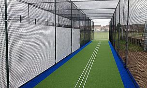 New features include two-tone blue and green carpet for practice facilities