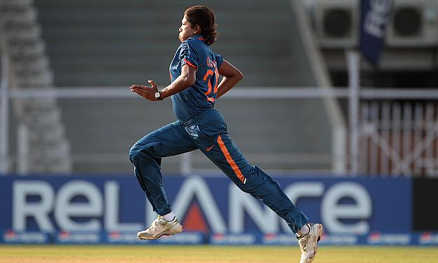 Jhulan Goswami in action
