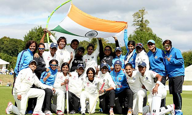 India Women celebrate their Test victory over England at Wormsley