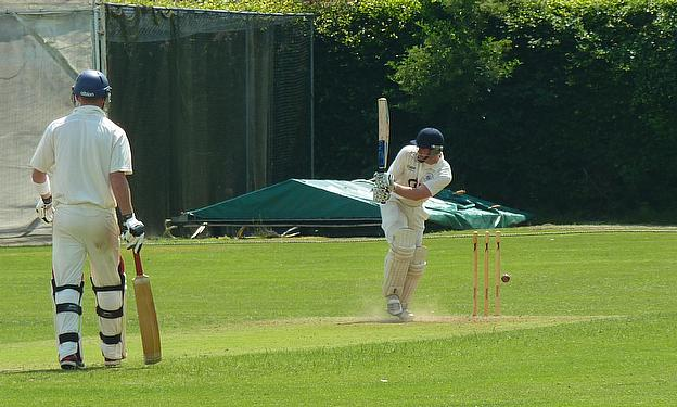 Ted Roe is bowled for one against the army