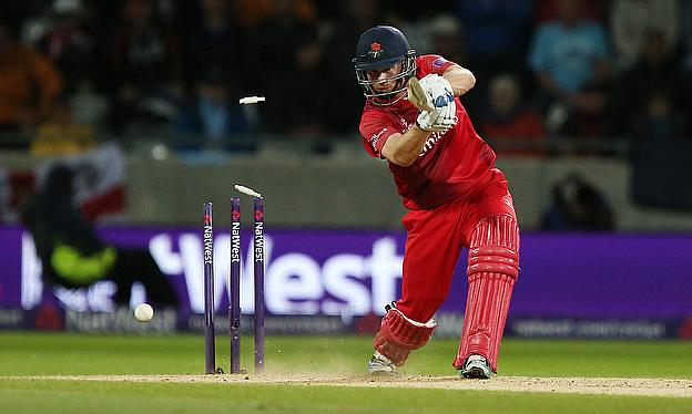 Karl Brown is bowled by Chris Woakes - a wicket from which Lancashire never recovered