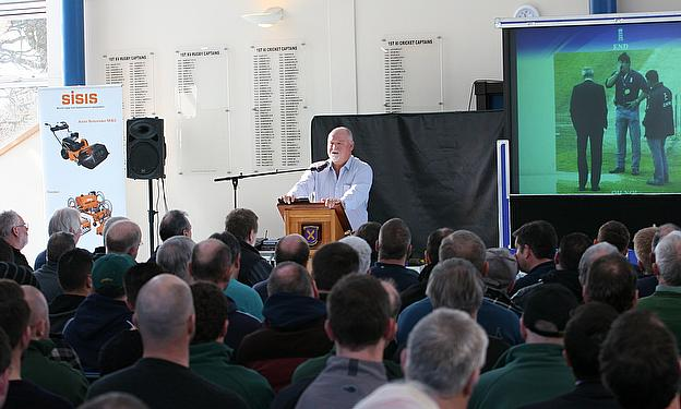 Mike Gatting talks to the assembled delegates at the Dennis & SISIS cricket seminar in St Albans