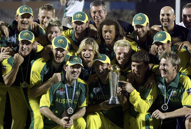 Australia celebrate their 2006 Champions Trophy win