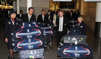 The England team return home
