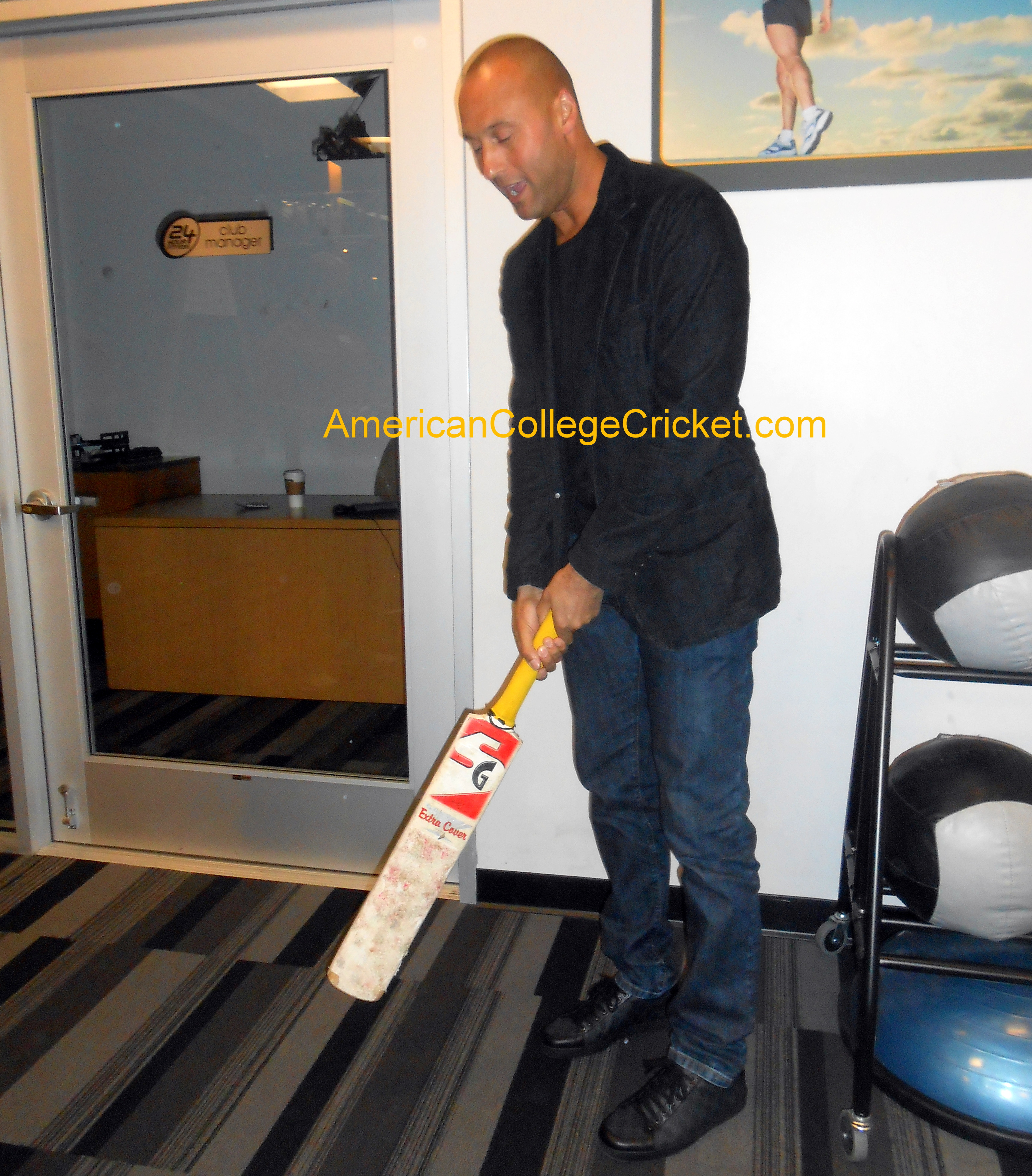 NY Yankees Derek Jeter's first time holding a cricket bat