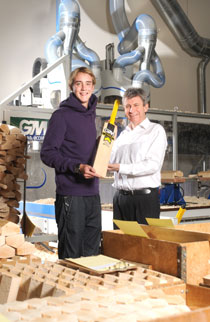 Stuart Broad picks up his bat for the West Indies England tour from GM managing director Peter Wright.
